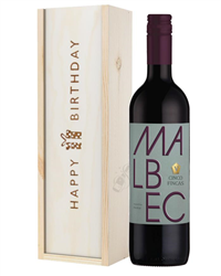 Argentinian Malbec Red Wine Birthday Gift In Wooden Box