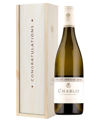 Chablis White Wine Congratulations Gift In Wooden Box