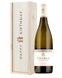 Chablis Wine Birthday Gift In Wooden Box